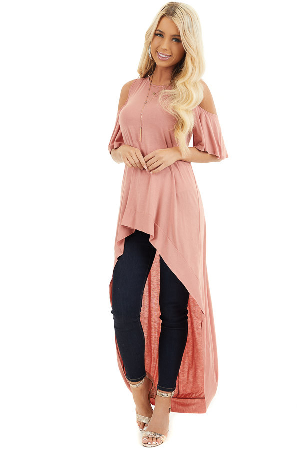 Salmon High Low Knit Tunic Top with Cold Shoulders front full body