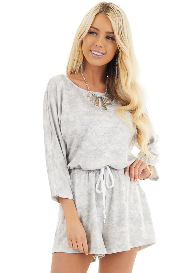 Dove Grey Mineral Wash Romper with 3/4 Length Sleeves front close up