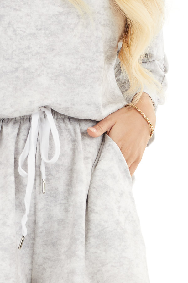 Dove Grey Mineral Wash Romper with 3/4 Length Sleeves detail