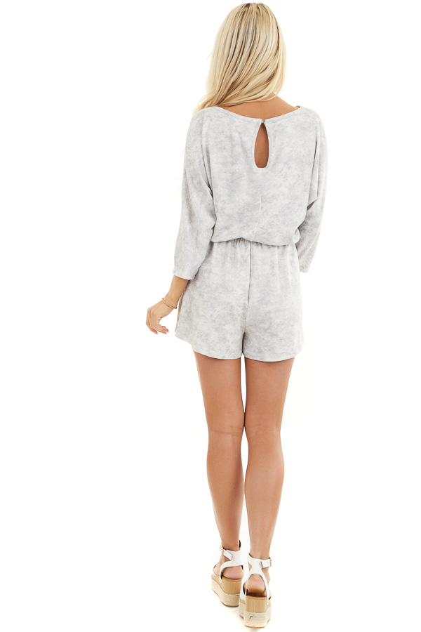 Dove Grey Mineral Wash Romper with 3/4 Length Sleeves back full body