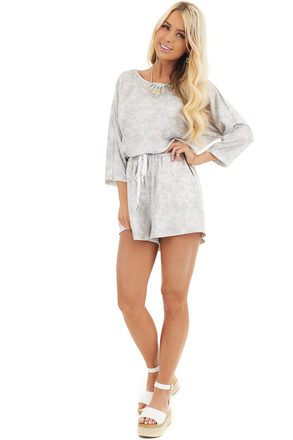 Dove Grey Mineral Wash Romper with 3/4 Length Sleeves front full body