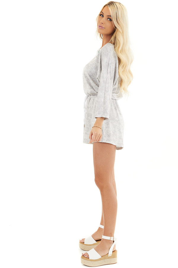 Dove Grey Mineral Wash Romper with 3/4 Length Sleeves side full body