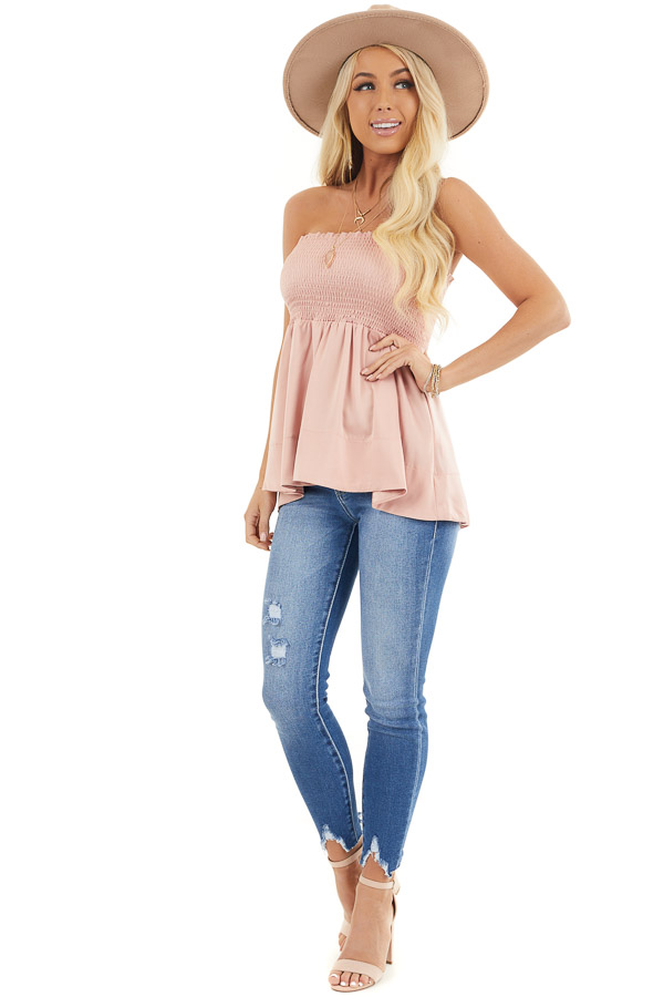 Dusty Blush Smocked Convertible Top or Skirt front full body