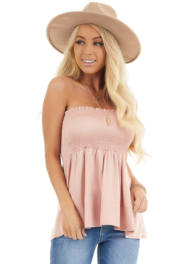 Dusty Blush Smocked Convertible Top or Skirt front close up