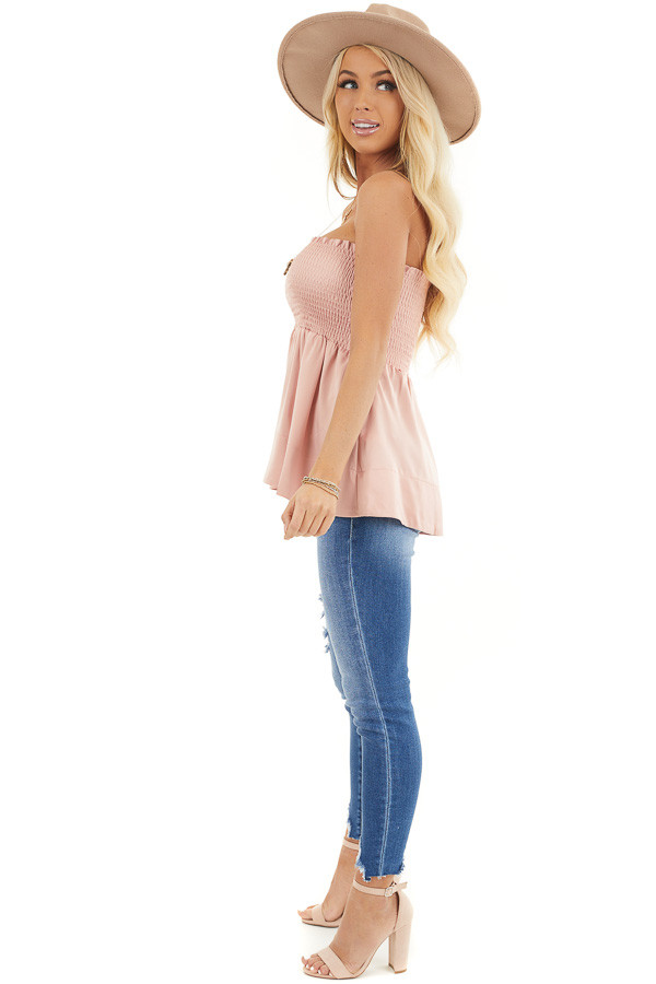 Dusty Blush Smocked Convertible Top or Skirt side full body