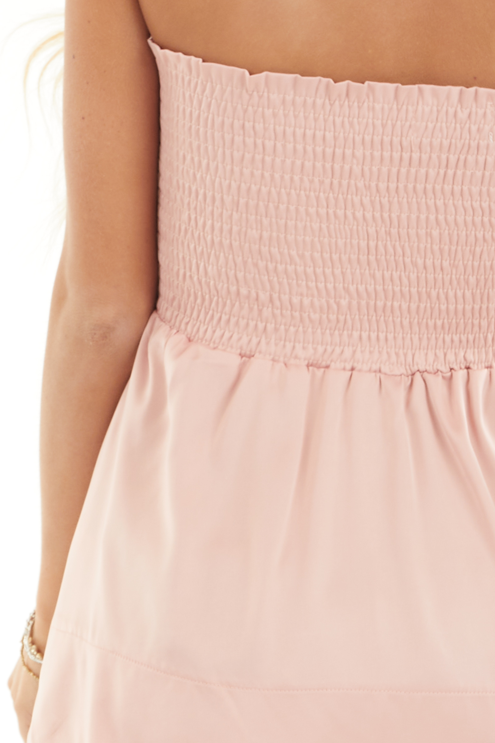 Dusty Blush Smocked Convertible Top or Skirt detail