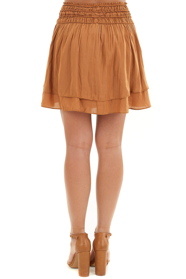 Caramel Mini Skirt with Layer Detail and Drawstring Waist back view