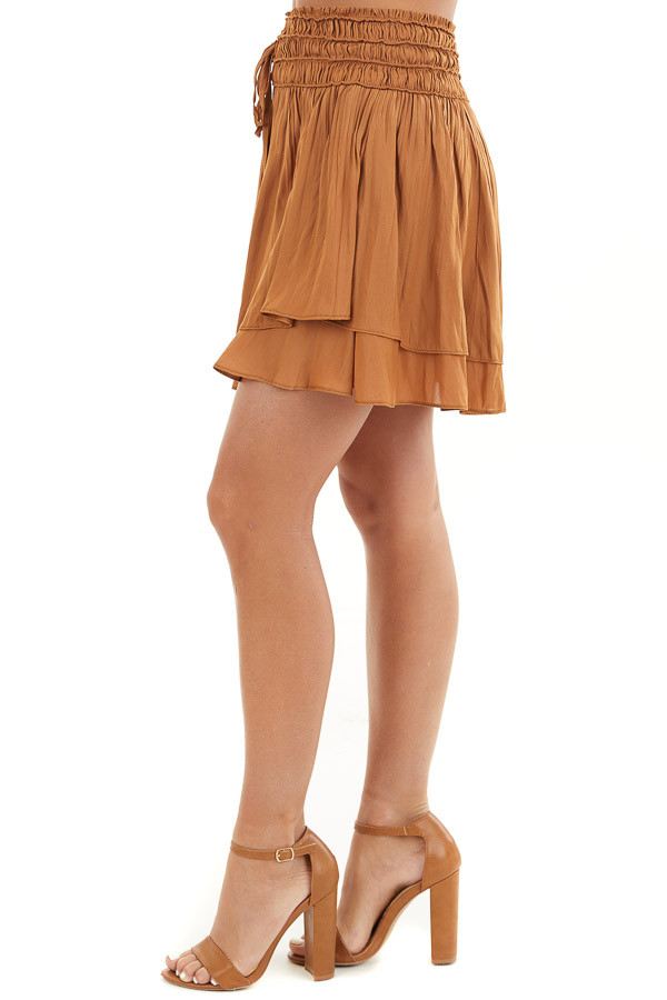 Caramel Mini Skirt with Layer Detail and Drawstring Waist side view