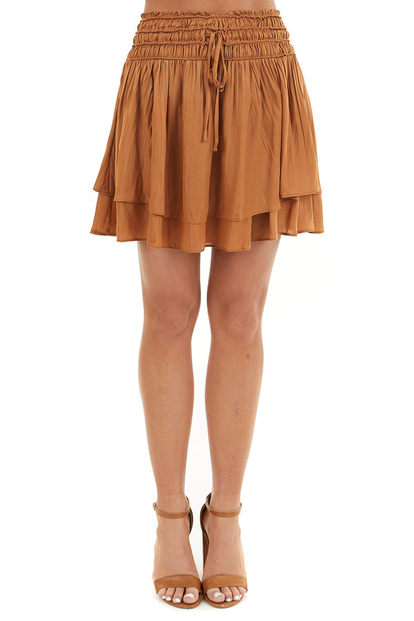Caramel Mini Skirt with Layer Detail and Drawstring Waist front view