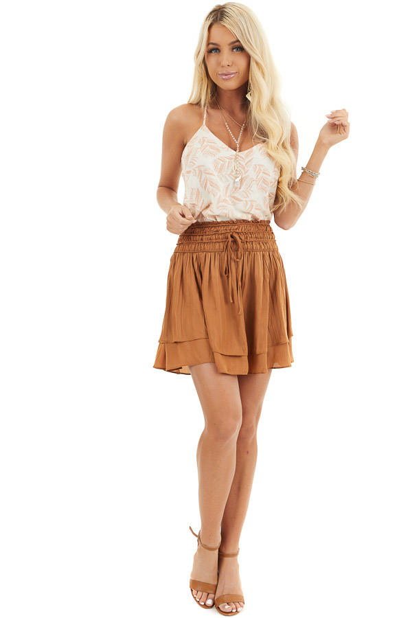 Caramel Mini Skirt with Layer Detail and Drawstring Waist front full body