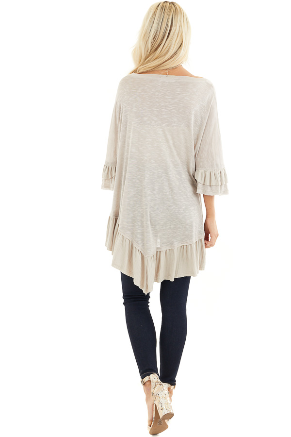 Two Tone Latte Oversized Knit Top with Ruffle Details back full body