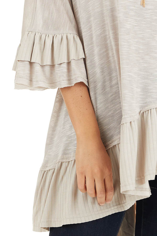 Two Tone Latte Oversized Knit Top with Ruffle Details detail