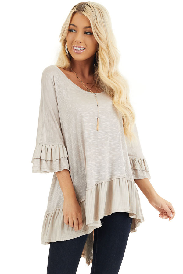 Two Tone Latte Oversized Knit Top with Ruffle Details front close up