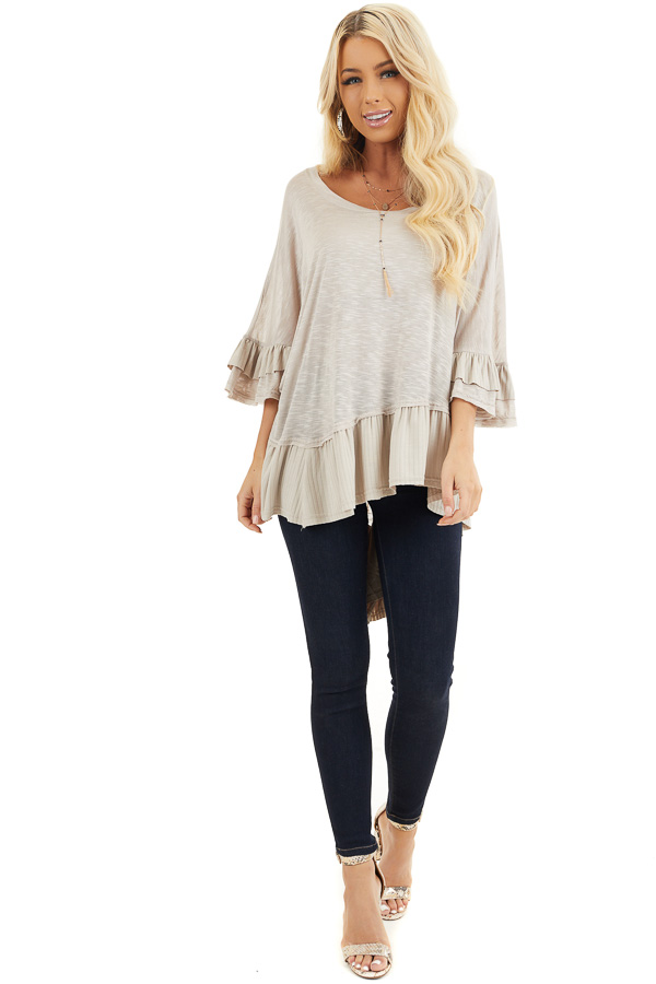 Two Tone Latte Oversized Knit Top with Ruffle Details front full body