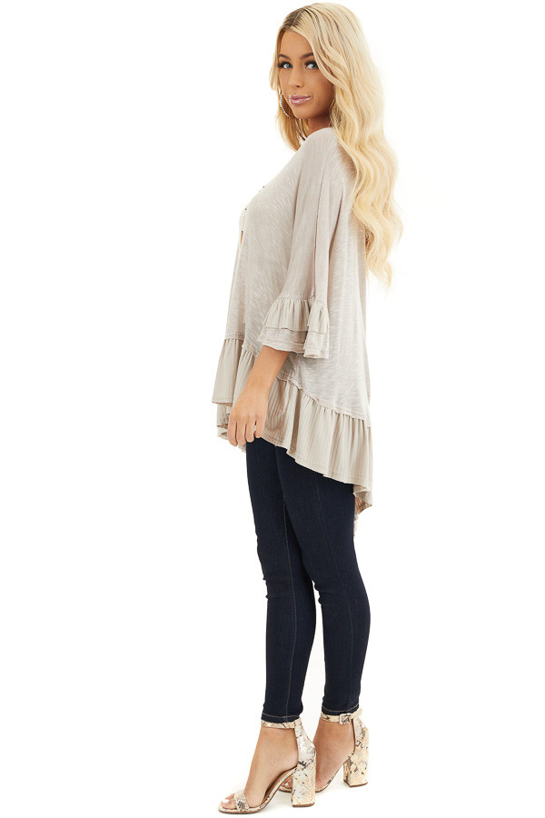 Two Tone Latte Oversized Knit Top with Ruffle Details side full body