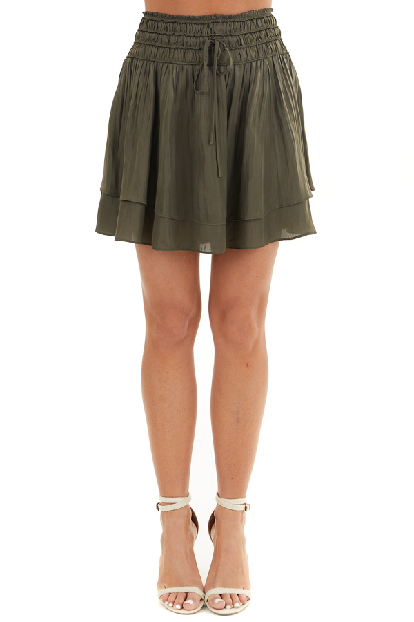 Deep Olive Mini Skirt with Layer Detail and Drawstring Waist front view
