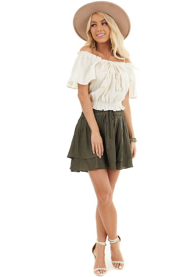 Deep Olive Mini Skirt with Layer Detail and Drawstring Waist front full body