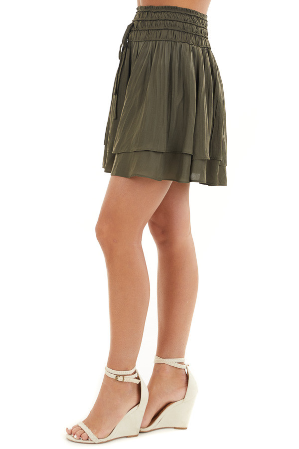 Deep Olive Mini Skirt with Layer Detail and Drawstring Waist side view