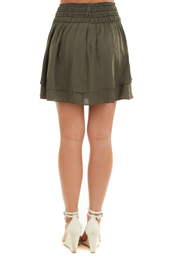 Deep Olive Mini Skirt with Layer Detail and Drawstring Waist back view