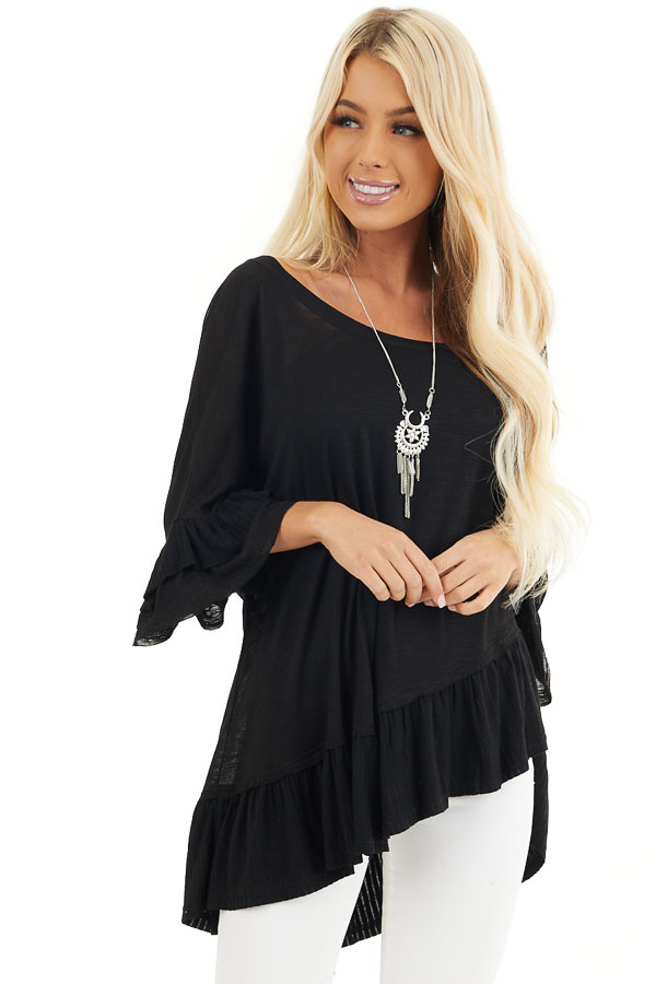 Black Oversized Semi Sheer Knit Top with Ruffle Details front close up