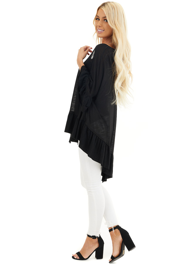 Black Oversized Semi Sheer Knit Top with Ruffle Details side full body