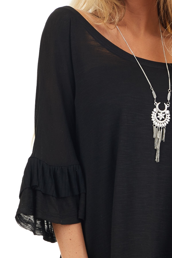 Black Oversized Semi Sheer Knit Top with Ruffle Details detail