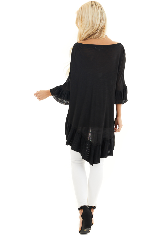 Black Oversized Semi Sheer Knit Top with Ruffle Details back full body