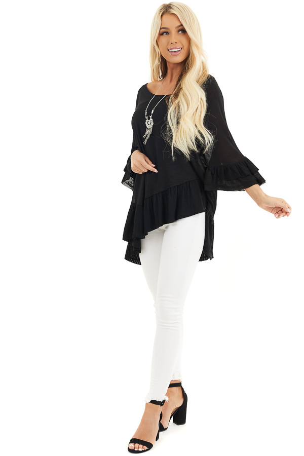 Black Oversized Semi Sheer Knit Top with Ruffle Details front full body