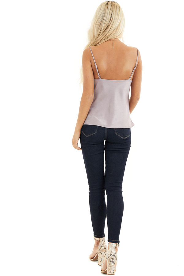 Metallic Mauve Silky Camisole with Draped Neckline back full body