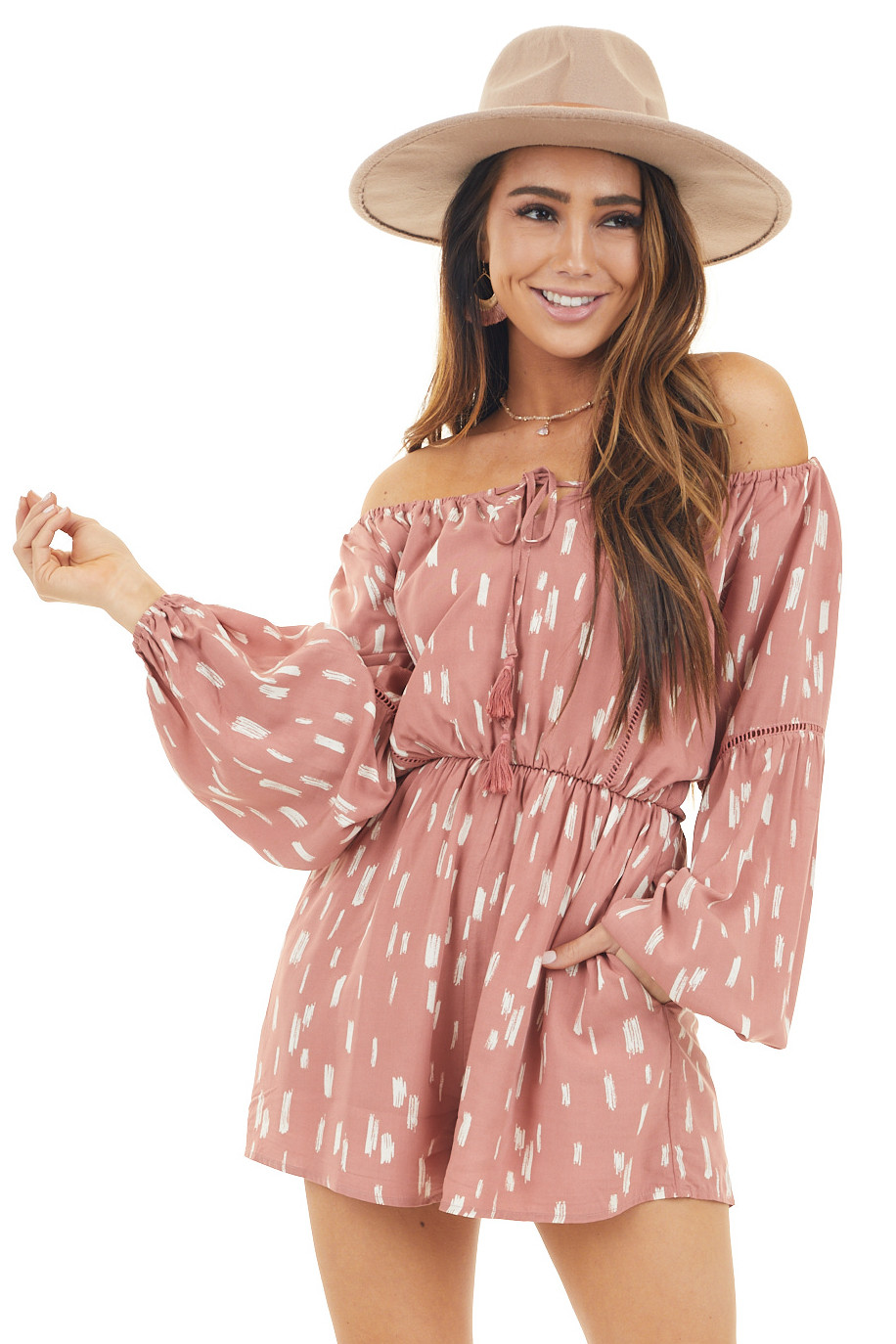 Salmon Printed Off Shoulder Romper with Long Bubble Sleeves
