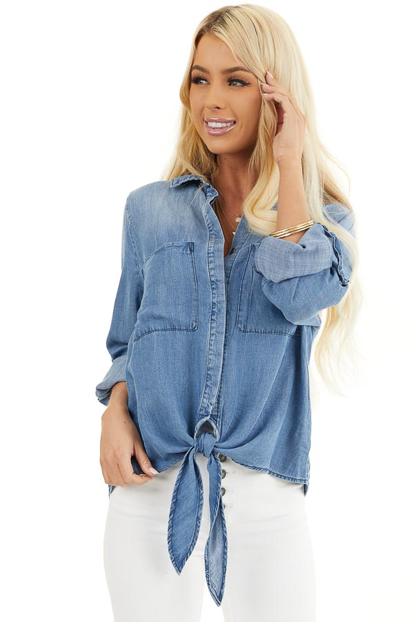 Medium Wash Denim Chambray Top with Long Sleeves and Tie front close up
