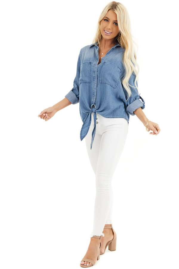 Medium Wash Denim Chambray Top with Long Sleeves and Tie front full body