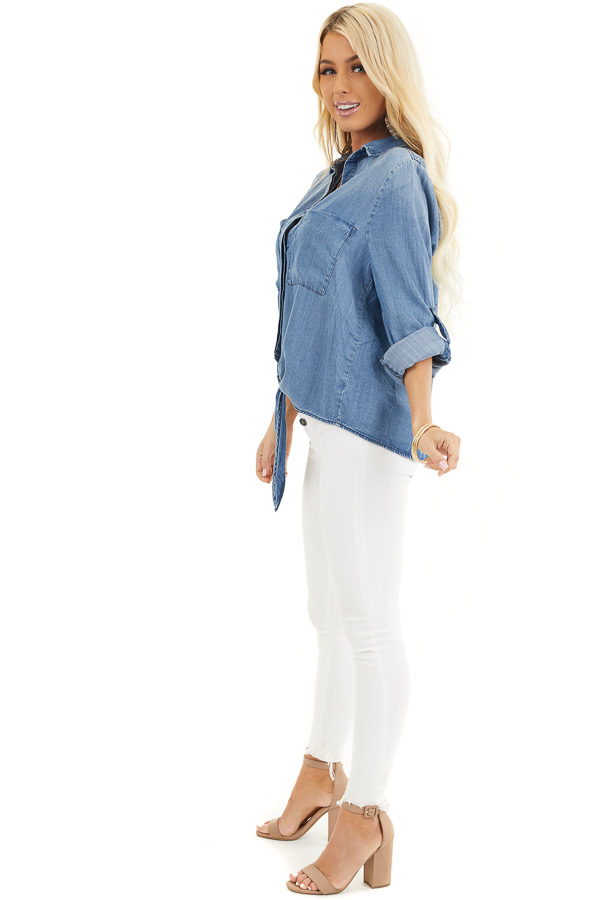 Medium Wash Denim Chambray Top with Long Sleeves and Tie side full body