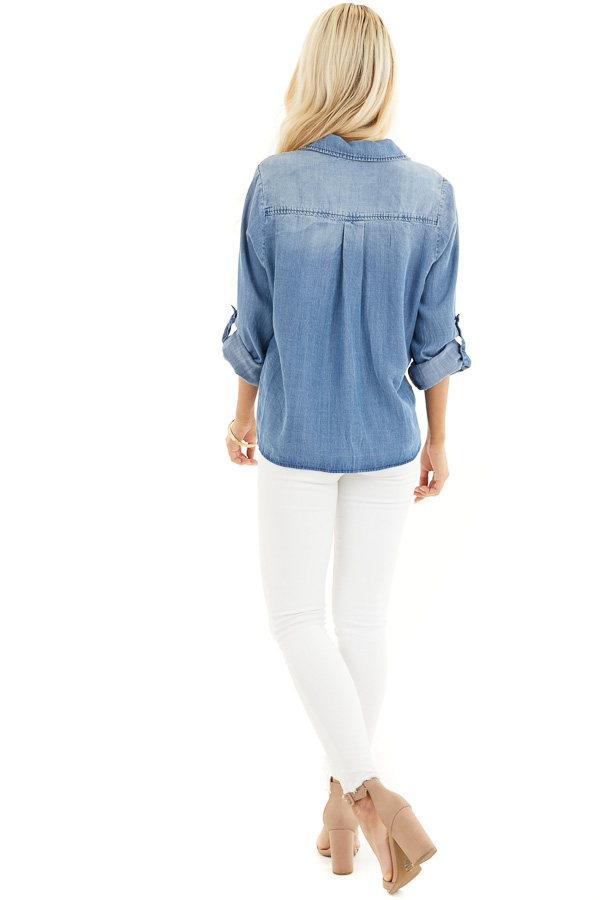 Medium Wash Denim Chambray Top with Long Sleeves and Tie back full body