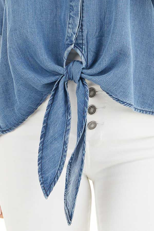 Medium Wash Denim Chambray Top with Long Sleeves and Tie detail