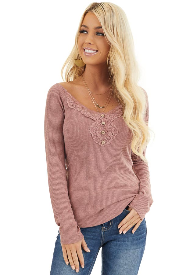 Marsala Long Sleeve Ribbed Knit Henley Top with Lace Details front close up