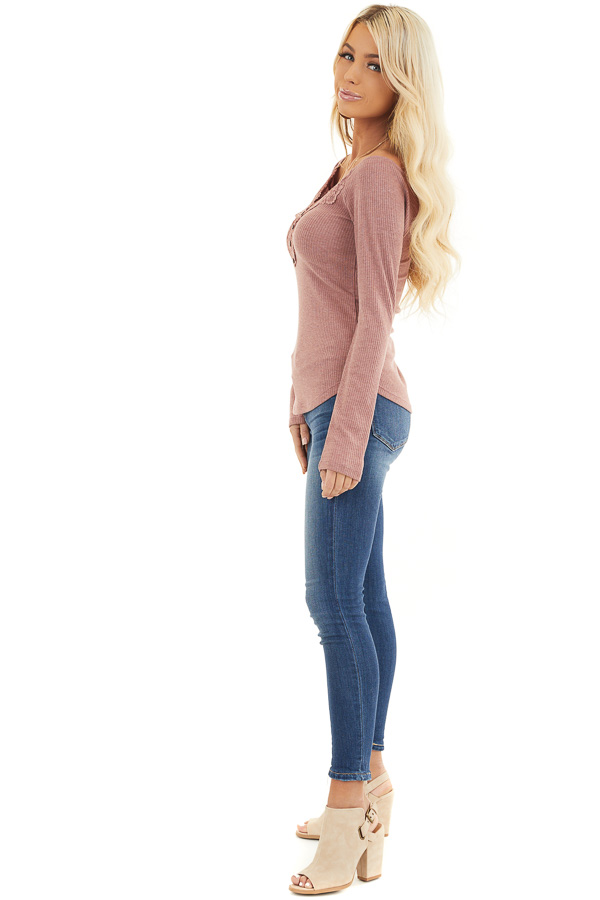 Marsala Long Sleeve Ribbed Knit Henley Top with Lace Details side full body