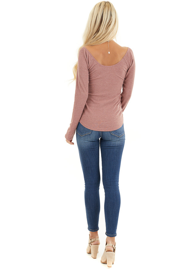 Marsala Long Sleeve Ribbed Knit Henley Top with Lace Details back full body