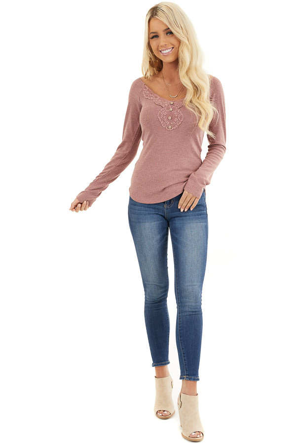 Marsala Long Sleeve Ribbed Knit Henley Top with Lace Details front full body