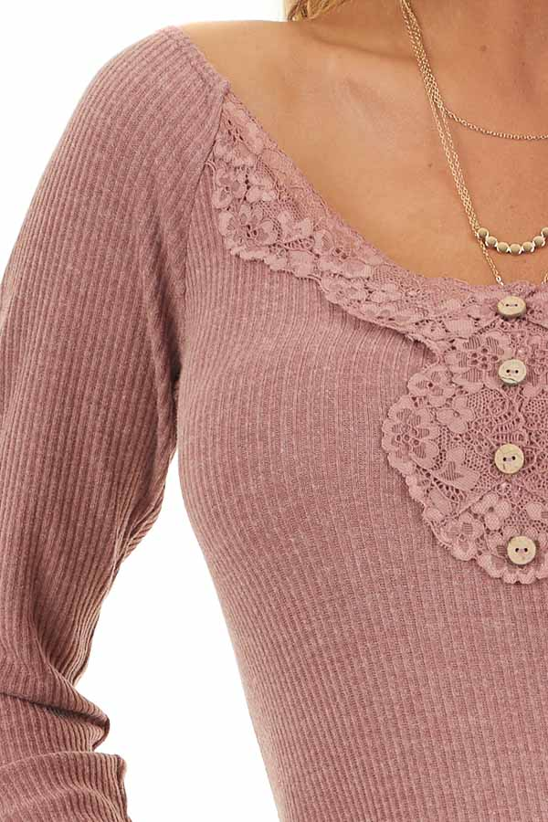 Marsala Long Sleeve Ribbed Knit Henley Top with Lace Details detail