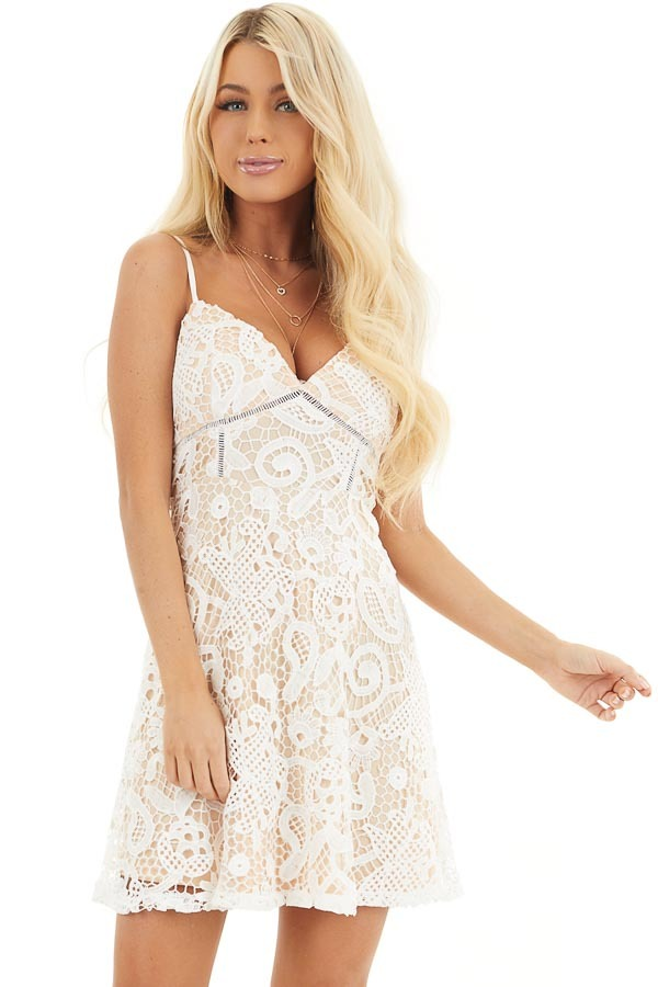 Ivory Lace Sleeveless Mini Dress with Adjustable Straps front close up