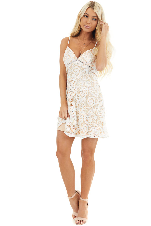 Ivory Lace Sleeveless Mini Dress with Adjustable Straps front full body