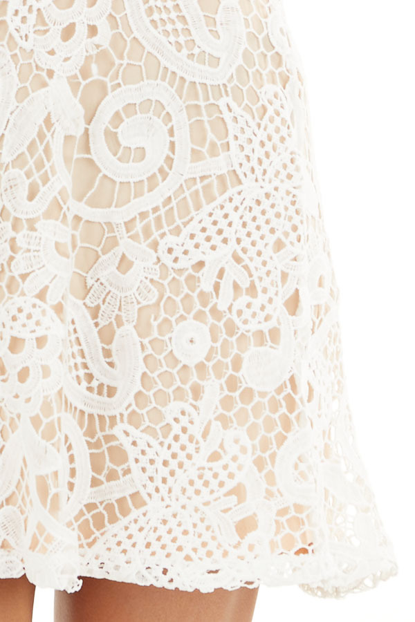 Ivory Lace Sleeveless Mini Dress with Adjustable Straps detail