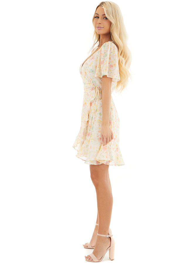 Cream Floral Print Short Wrap Dress with Ruffle Details side full body