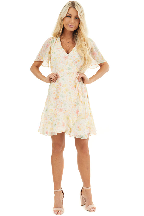 Cream Floral Print Short Wrap Dress with Ruffle Details front full body