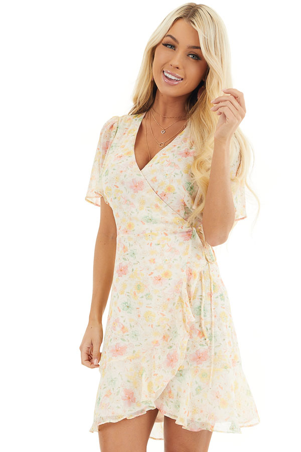 Cream Floral Print Short Wrap Dress with Ruffle Details front close up
