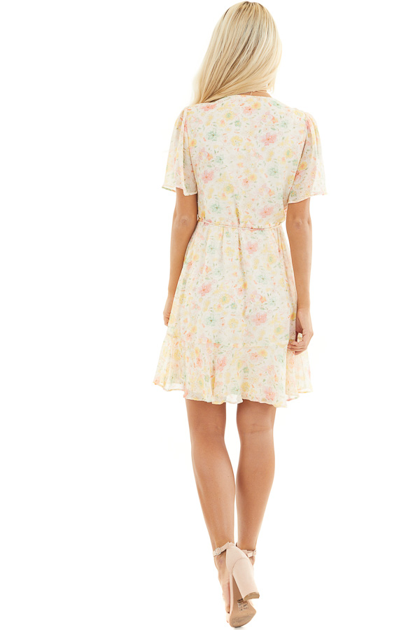 Cream Floral Print Short Wrap Dress with Ruffle Details back full body