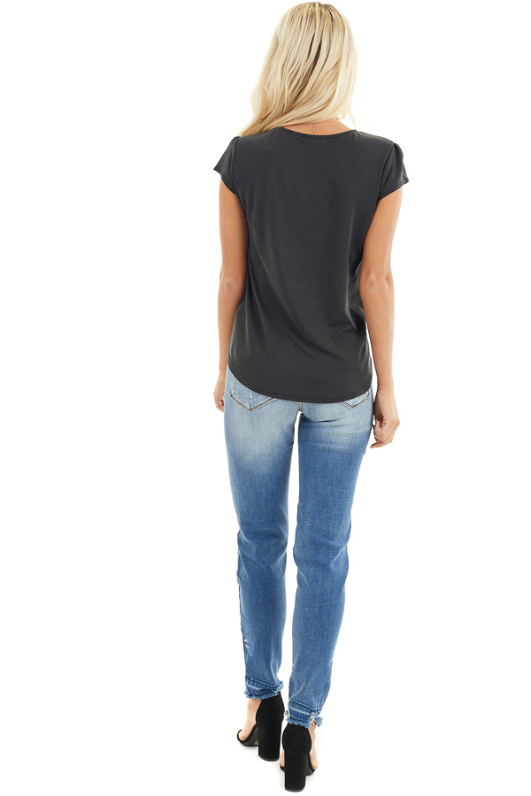 Black Short Sleeve Knit Top with V Neckline back full body