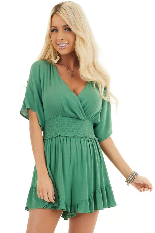 Shamrock Short Sleeve Surplice Romper with Smocked Waist front close up