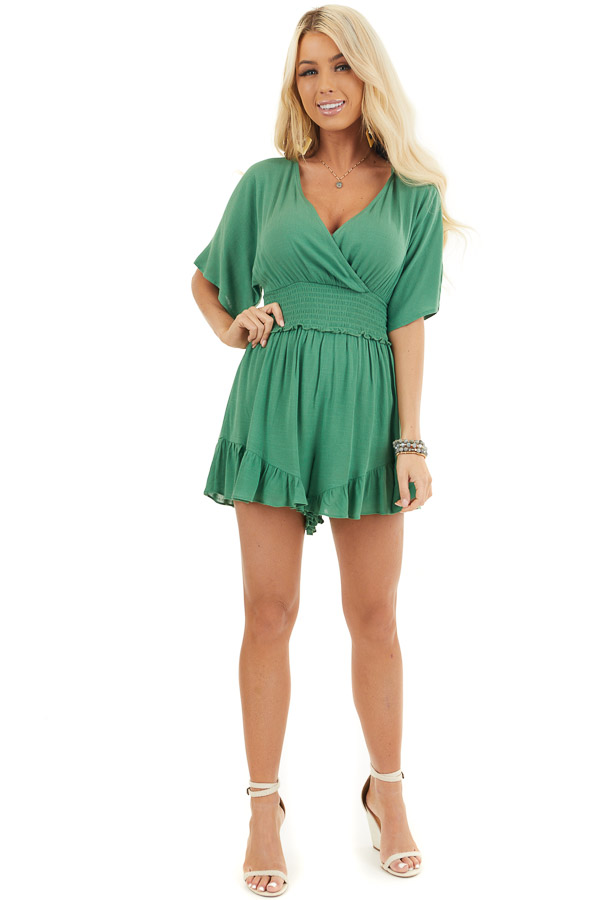 Shamrock Short Sleeve Surplice Romper with Smocked Waist front full body